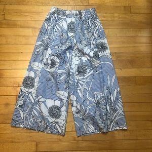 Zara Woman Floral and Stripe Print Wide Leg Crop